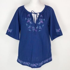 Roots Blue Floral Embroidered Top